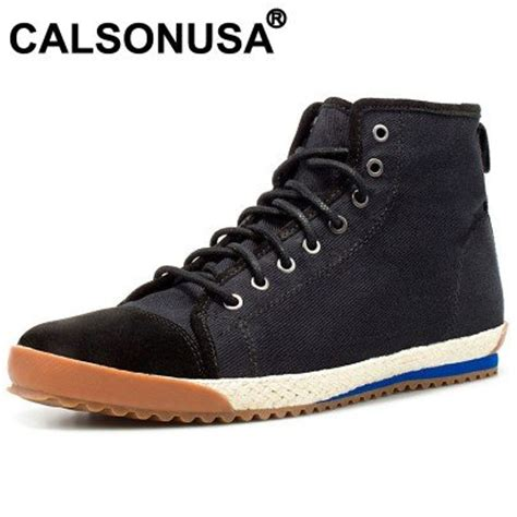 casual high top canvas genuine leather jute black sneakers