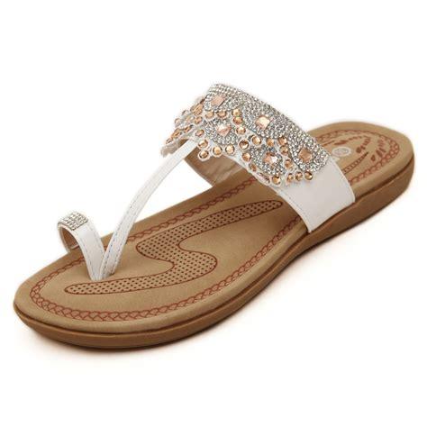 Wedges Flat Fashion new 2016 fashion rhinestone sandals flat slip on slippers summer shoes rasteirinha