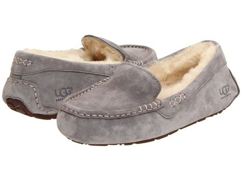 womens gray slippers s shoes ugg ansley moccasin slippers 3312 light grey