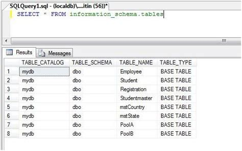 sql list tables in database list all tables of database sql query