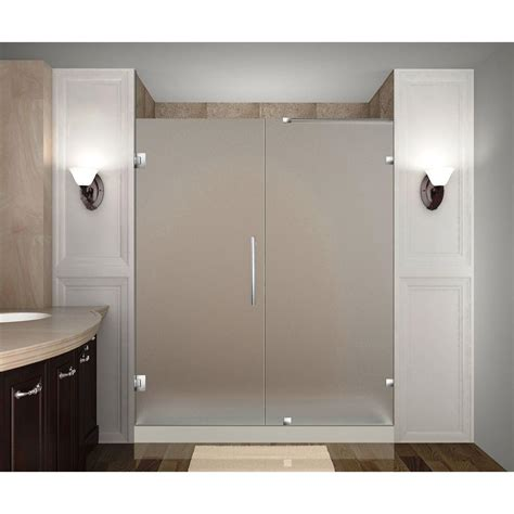 Frameless Frosted Glass Shower Doors Aston Nautis 70 In X 72 In Completely Frameless Hinged Shower Door With Frosted Glass In