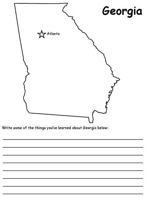 coloring page map of georgia georgia state map