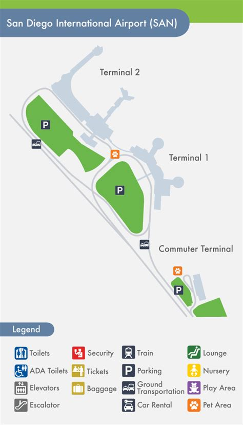 san diego airport map san diego airport san terminal map
