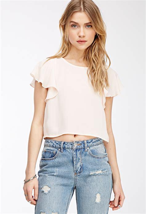 forever 21 flutter sleeve blouse in lyst