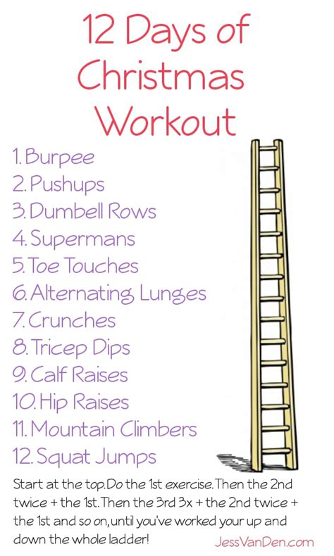 twelve days of christmas work 12 days of workout my 20 minute workout jess den