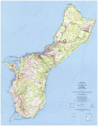 printable road map of guam topographical map of guam guam topographical map
