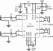 Circuit 22W Stereo Amplifier Using TDA1554  Xtronic