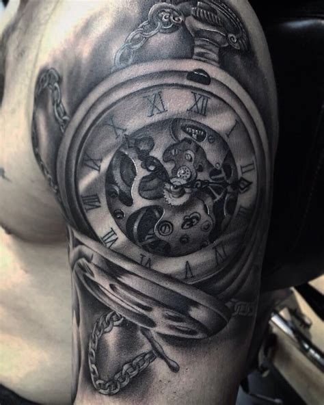 pocket watch and roses tattoo pocket watches tattoos