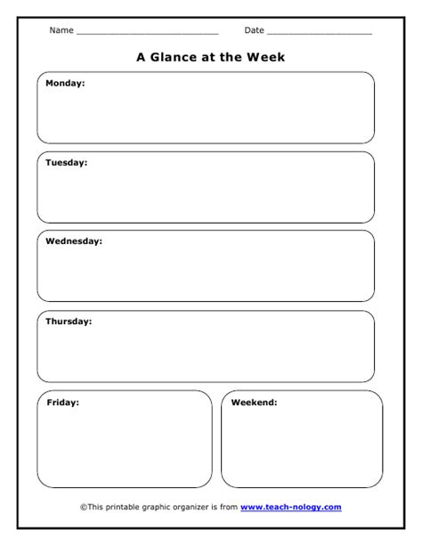 week at a glance lesson plan template s week at a glance organizer