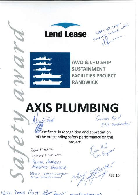 Axis Plumbing by Safety Award Axis Plumbing