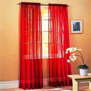 4 piece sheer voile window curtain panel solid red new ebay