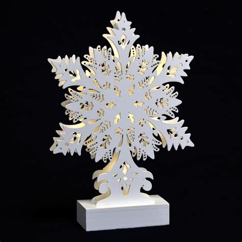 white snowflake standing led light up christmas wooden