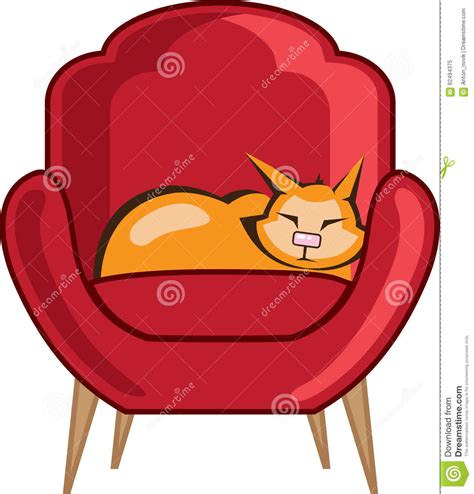 cat on chair drawing cat sleeping in armchair stock vector image 62494375