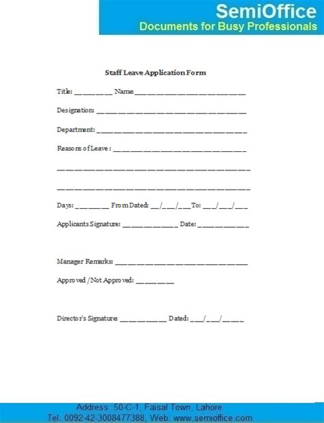staff application template employee leave application form sle semioffice