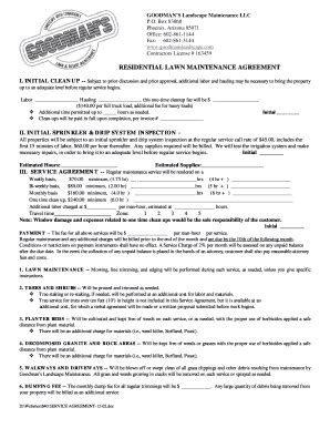Sle Landscape Maintenance Contract by Sle Lawn Service Contract Fill Printable Fillable Blank Pdffiller