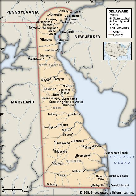 detailed map of delaware delaware political features encyclopedia