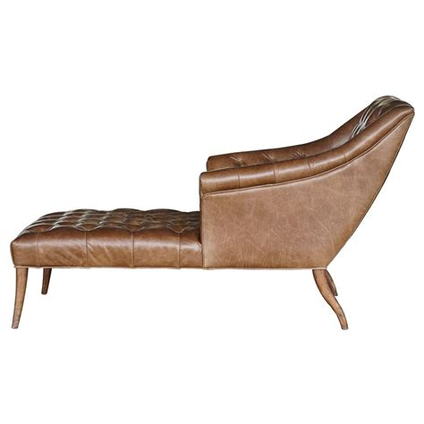 chaise armchair roald rustic lodge brown leather tufted armchair chaise