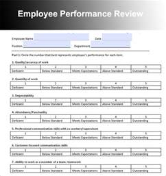 performance evaluation templates employee review sle employee performance review