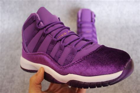 purple jordans shoes wholesale air 11 grape velvet purple white gold