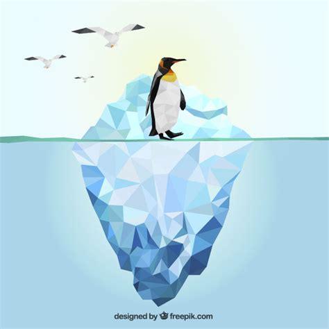 Nella Pinguin Set iceberg poligonale e pinguino scaricare vettori premium