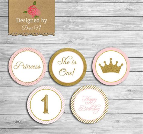 free printable crown cupcake toppers princess birthday cupcake topper instant download pink