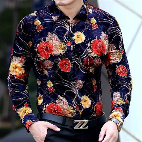 Dress Rauna Rk 043 Size Xxxl new 2017 flower shirt floral printed velvet camisa luxury designer clothes trendy slim