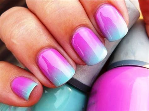 easy nail art pink and blue ombre pink and light blue nail art