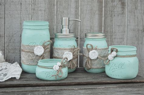 bathroom jar mason jar bathroom set mint green shabby chic soap
