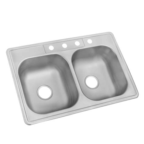 double bowl kitchen sink glacier bay drop in stainless steel 33 in 4 hole double