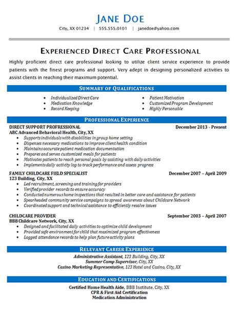 direct care resume exle health care patients
