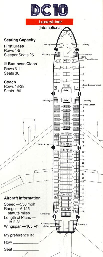 dc10 seating plan vintage airline seat map american airlines international