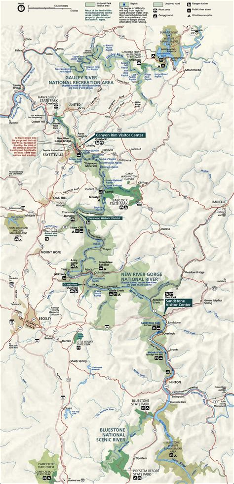river gorge map new river gorge national river west virginia national park service
