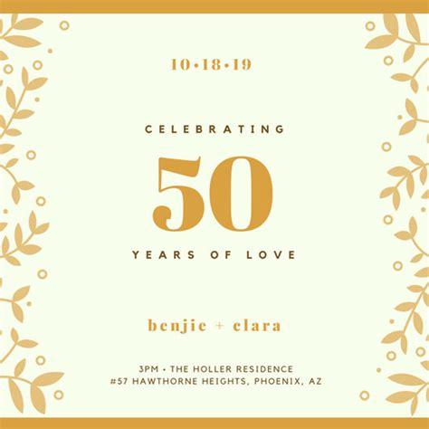 Customize 1 796 50th Anniversary Invitation Templates Online Canva 50 Year Anniversary Invitations Templates