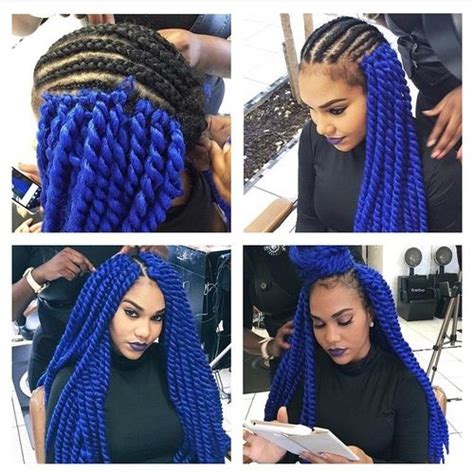 pictures of blue hair braided into brown hair black and blue box braids google search hair
