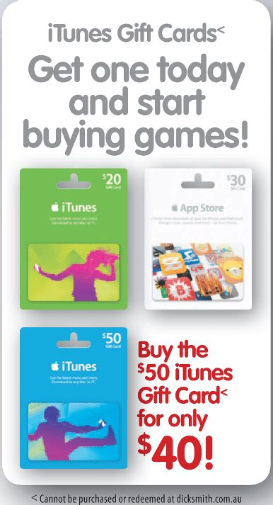 Where To Buy Dicks Gift Cards - 50 itunes gift card for 40 at dick smith gift cards on sale