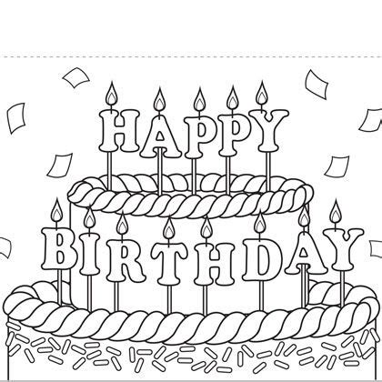 coloring pages of happy birthday cards coloring birthday cards coloring pages jexsoft com