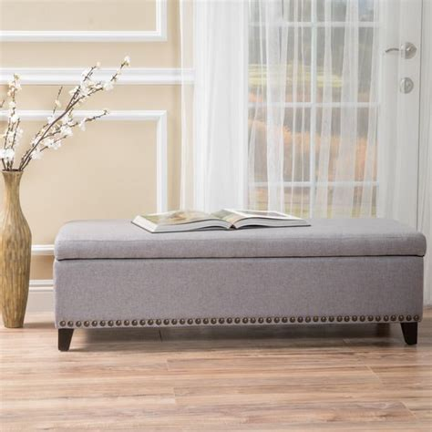 overstock entryway bench isra fabric storage ottoman bench by christopher knight