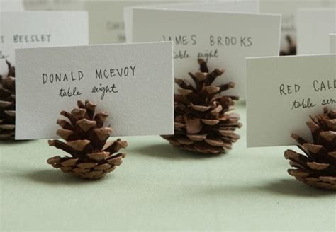 6 pc pine cone place card holder set merry brides diy pinecone seating or escort card holders