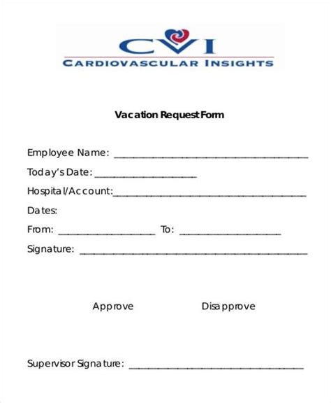 employee vacation request form template printable employee vacation request form