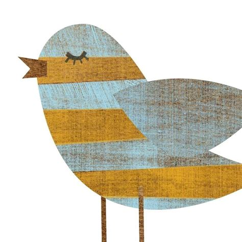 Bird Nursery Decor Yellow Blue Stripe Bird Collage Print 5 Quot X 7 Quot Feminine Baby Nursery Bird Print Nursery