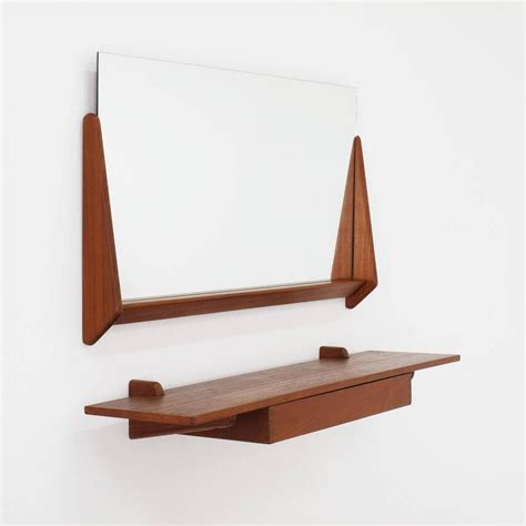 aksel kjersgaard wall mirror and floating shelf teak wood