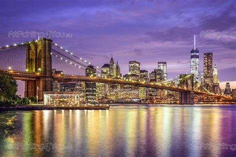 poster mural papier peint pont brooklyn  york