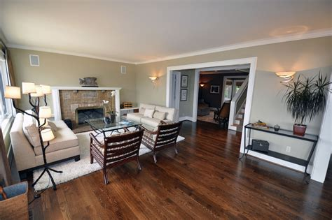oak floors living room traditional with none