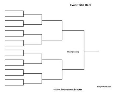 knockout draw sheet template free printable 16 team tournament bracket