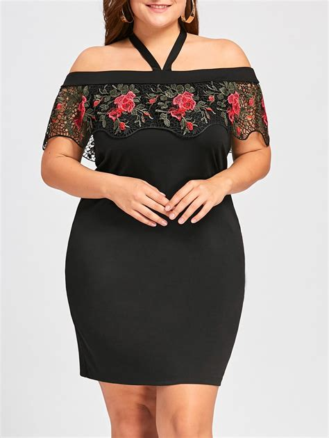 Dress Yuri Polka Black black xl plus size halter embroidery mini tight dress