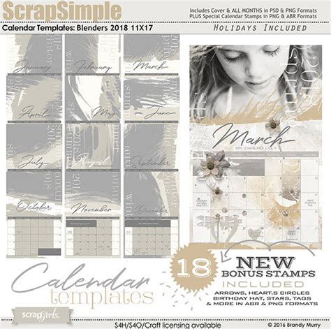 11x17 calendar template scrapsimple calendar templates 11x17 blenders 2018 by