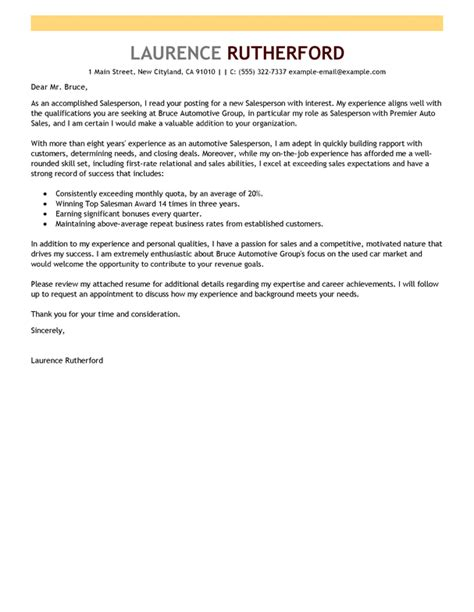 cover letter for automotive industry best automotive salesperson cover letter exles livecareer