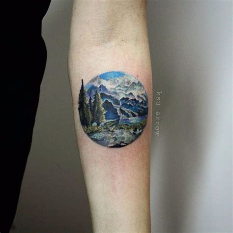 small round tattoos best 25 landscape ideas on mountain