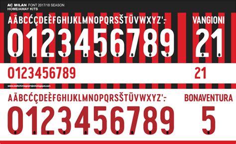 Custom Font Nameset Manchester United 2017 2018 font ac milan 2017 18 kits timix patch timix patch