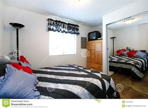 small bedroom full size bed cozy small bedroom with full size mirror stock photo